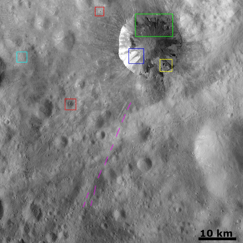 Interesting things in a Dawn Vesta image