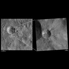 Aelia crater, Vesta, in medium and high resolution