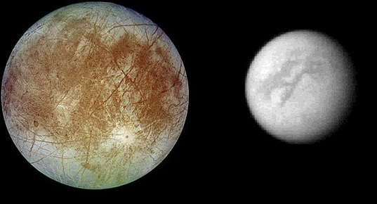 Europa and Titan two different worlds to explore