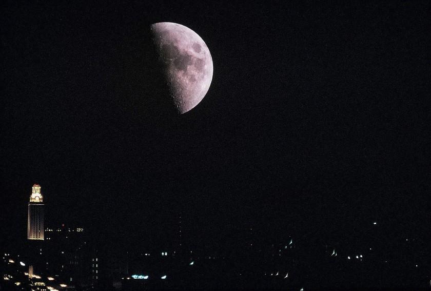 Moon over UT Austin