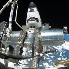 Space Shuttle Endeavour docked to Harmony module on the ISS