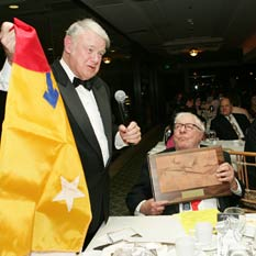 Bruce Murray awards the Mars Flag to Ray Bradbury