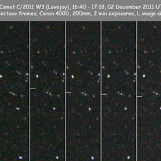 C/2011 W3 (Lovejoy) is shown here in a series of images taken by Rob Kaufman Victoria, Australia.