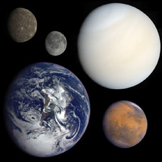 A scale and rough color comparison of the terrestrial planets, including the Moon (often considered an honorary terrestrial planet).