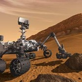 Curiosity artist's concept on Mars arm sampling