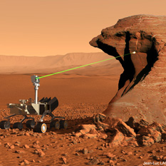 Curiosity artist's concept on Mars Chemcam laser