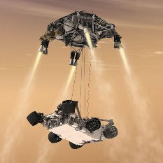 Curiosity artist's concept EDL 40 skycrane