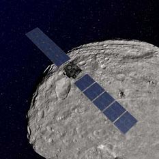 Dawn artist's concept orbiting asteroid Vesta
