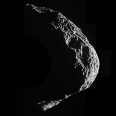 Crescent Hyperion, mosaic by Emily Lakdawalla from Cassii August 25, 2011 flyby