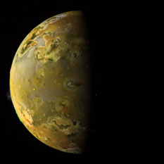 Io, with Pillan erupting, as seen by Galileo in 1997, processed by Jason Perry