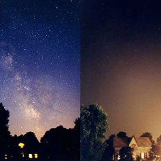 A view of the suburban sky with, and without, power to outdoor lights, from the International Dark-Sky Association.