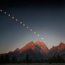Tyler Nordgren captured this lunar eclipse sequence from his campsite in Grand Teton National Park on the night of August 29, 2007.  He took an exposure of the moon every 10 minutes until it disappeared and the sun lit up the mountains with alpenglow.