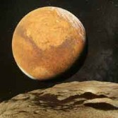 This artist concept shows Mars from the perspective of Deimos.