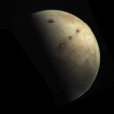 Mars Express VMC color global view of Mars, near northern summer solstice, Tharsis Montes, morning fog