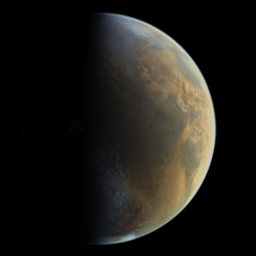 Viking 1 approaches Mars - global view at half phase