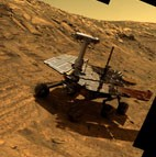 Mars Exploration Rover artist's concept Opportunity at Burns Cliff