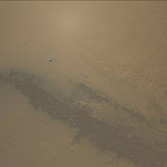 Curiosity photo MARDI heat shield falling far toward Mars