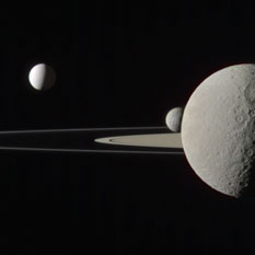 Janus, Pandora, Enceladus, Mimas, and Rhea. Processed by Emily Lakdawalla.