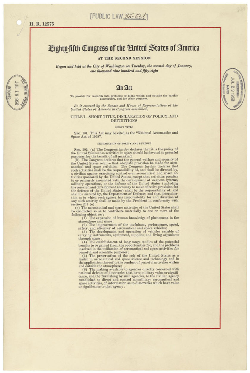 The 1958 National Aeronautics and Space Administration Act