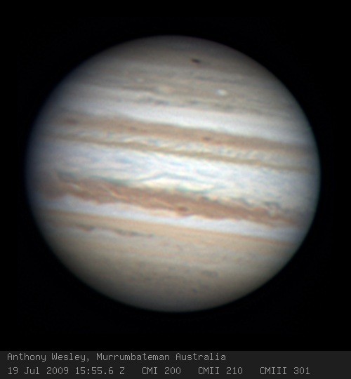 Discovery image of the 2009 Jupiter impact