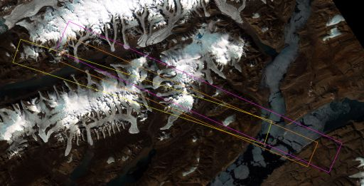 Footprints of Hyperion multispectral images across Borup Fiord Pass