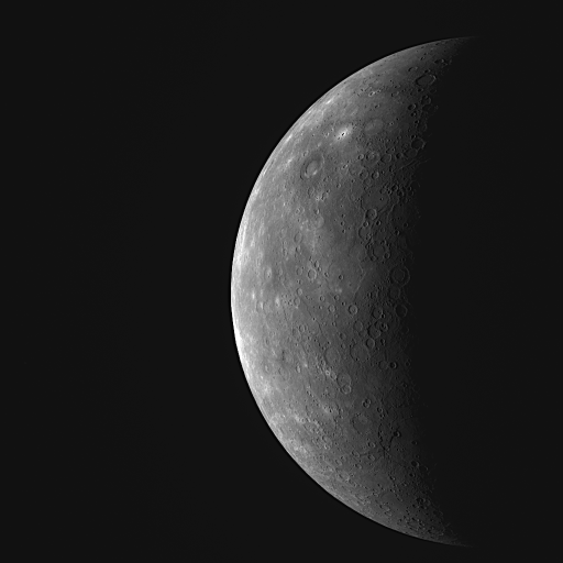 Last wide-angle shot of Mercury before flyby 3
