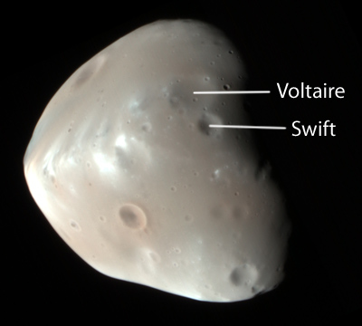 HiRISE image of Deimos (labeled)