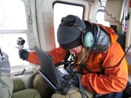 Dahmnait Gleeson takes spectral measurements from the helicopter