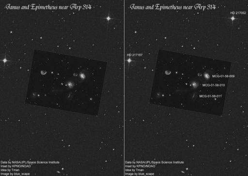 Janus and Epimetheus against a star field