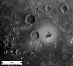 Shield volcano on the rim of Caloris basin