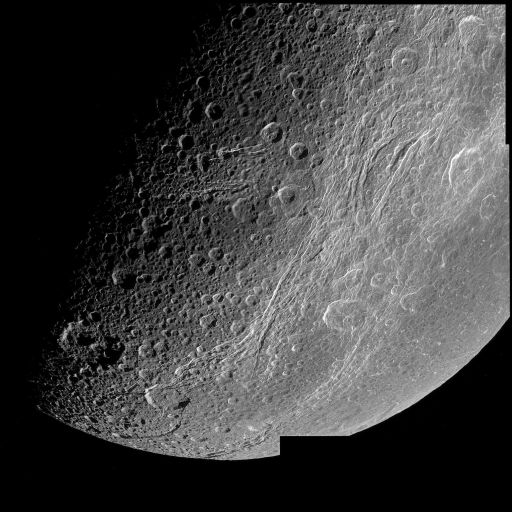 Close view of Dione's fractures