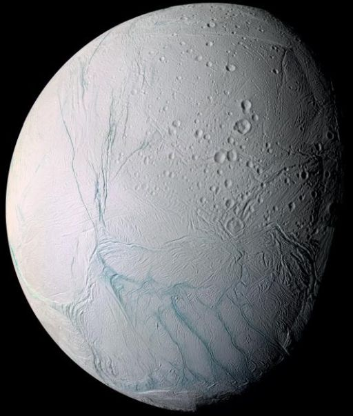 Enceladus in false-color