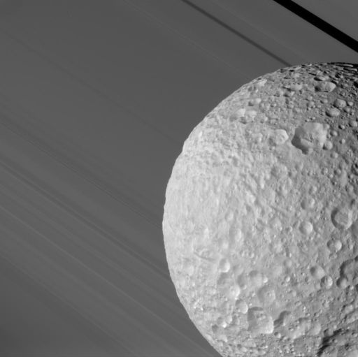 Mimas Against the Rings