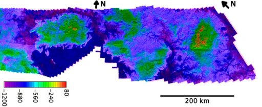 Topographic map of lakes on Titan