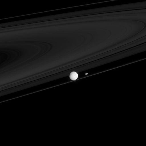 Saturn's rings, Prometheus, and Mimas