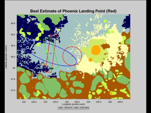 First estimate of Phoenix' landing location
