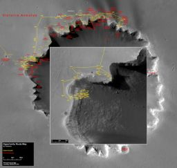 Opportunity's route map to sol 1,491