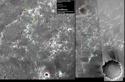 Opportunity route map to sol 833