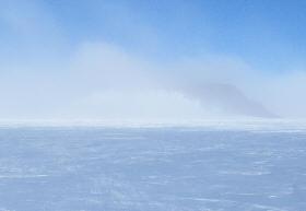 Same nunatak, foggy morning