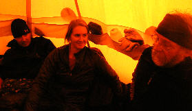 Deon, Jani and John squeezed on one side of the ladies tent.