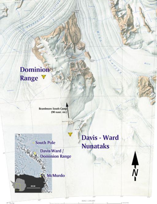USGS topographic mosaic of Dominion Range region