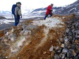 Marie-Eve Caron and Benoit Beauchamp examine possible paleo-discharge site