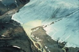 Aerial view of sulfur staining glacial ice in Borup Fiord Pass