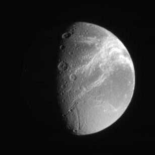 Dione's anti-Saturn hemisphere