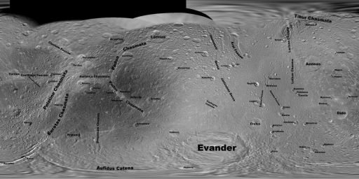 Feature names on Dione