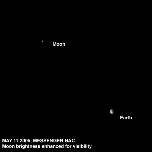 The Earth and Moon as seen by MESSENGER