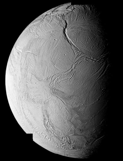Mosaic of Enceladus' southern hemisphere from the October 9, 2008 Cassini flyby