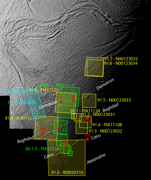 Context map for Cassini's highest-resolution views of Enceladus' south pole
