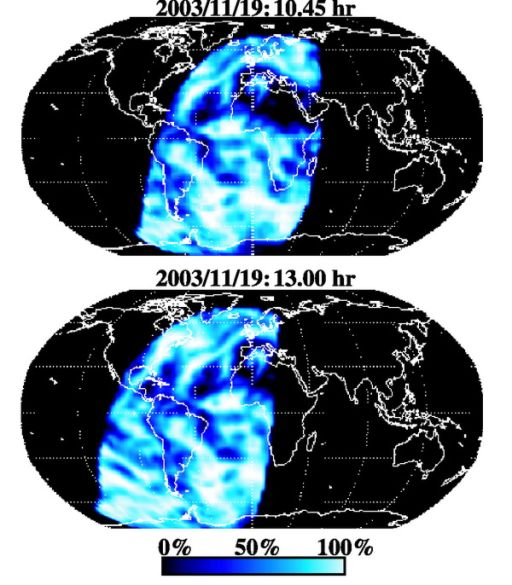 Earth regions contributing to Earthshine at different times on the night of November 19, 2003.