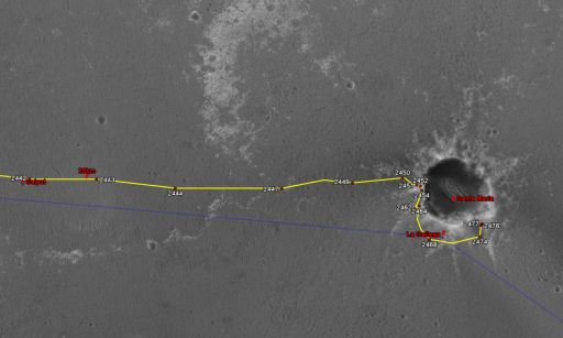 Google Mars view of Opportunity traverse as of February 9, 2011